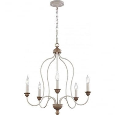 Hartsville 5 Light Chandelier Chalk Washed/Beachwood