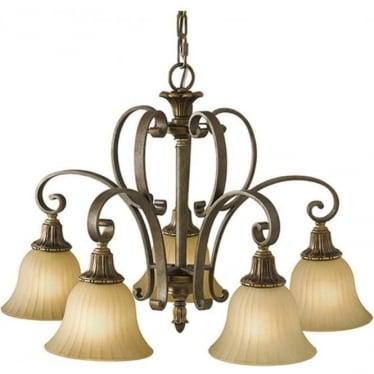 Kelham Hall Down 5 Light Chandelier Firenze Gold/British Bronze