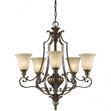 Kelham Hall Up 5 Light Chandelier Firenze Gold/British Bronze