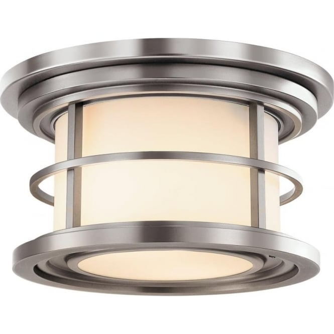 Feiss Lighthouse Outdoor Flush Mount Brushed Steel