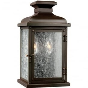 Pediment Small Wall Lantern Dark Aged Copper
