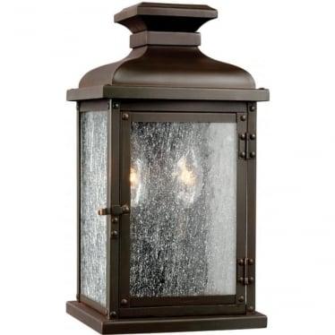 Pediment Small Wall Lantern Dark Aged Copper