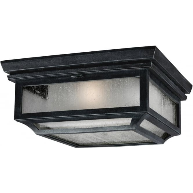 Feiss Shepherd 2 light Flush Mount Ceiling Light Dark Weathered Zinc