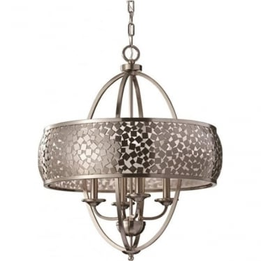 Zara 4 light Chandelier Brushed Steel