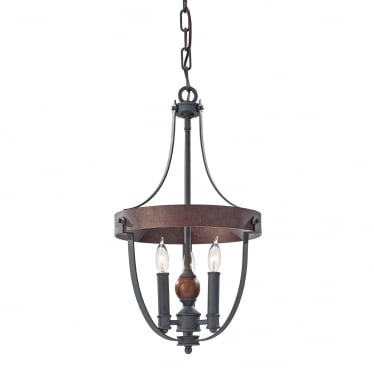 Alston 3 Light Chandelier - Charcoal Black