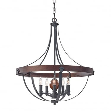 Alston 5 Light Chandelier - Charcoal Black