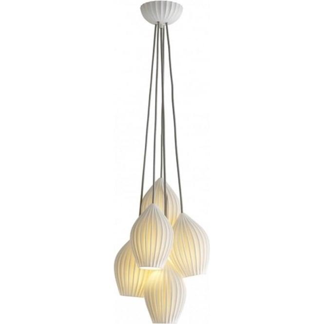 Original BTC Lighting Fin grouping of five pendant - Natural