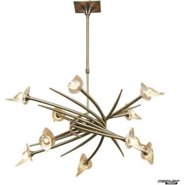 Flavia 10 Light Ceiling Pendant Fitting Antique Brass