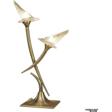Flavia 2 Light Table Lamp Antique Brass