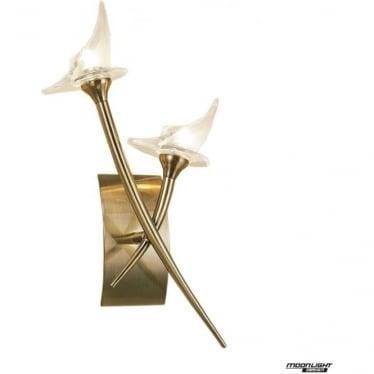 Flavia 2 Light Wall Lamp Antique Brass