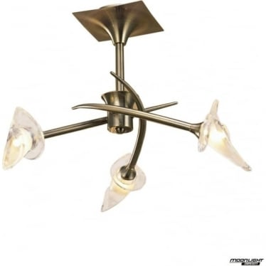 Flavia 3 Light Semi Flush Ceiling Fitting Antique Brass