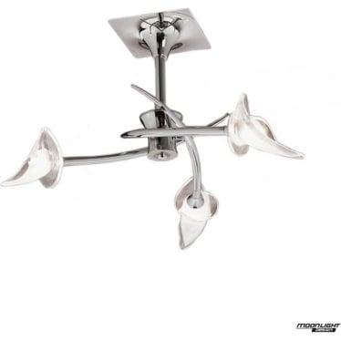 Flavia 3 Light Semi Flush Ceiling Fitting Polished Chrome