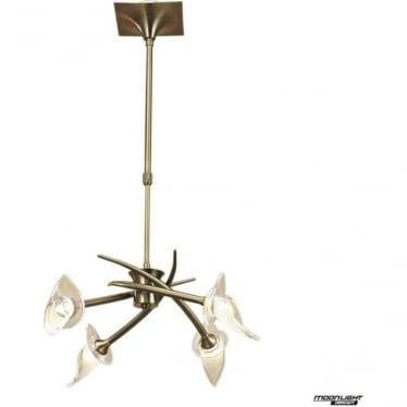 Flavia 4 Light Convertible Telescopic Pendant or Semi Flush Fitting Antique Brass