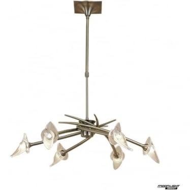 Flavia 6 Light Convertible Telescopic Pendant or Semi Flush Fitting Antique Brass