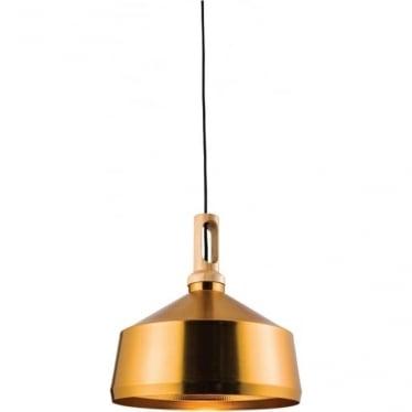 Garcia Single Pendant - Brushed Hammered Gold & Light Wood Finish