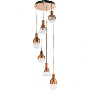 Giamatti 6 Light Pendant - Clear & Copper Glass, Copper Plate