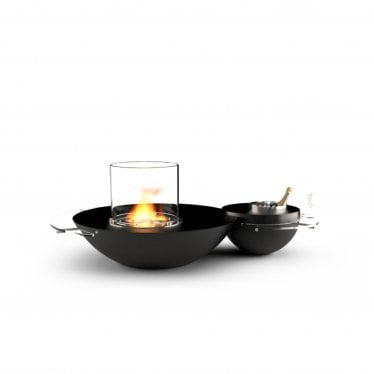 Duo - Bioethanol Premium Fire - Polished Black Granite/Stainless Steel & Glass
