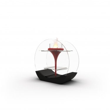 O-Flut - Bioethanol Premium Fire - Red Lacquered Fibre Glass, Glass & Lacquered MDF Base