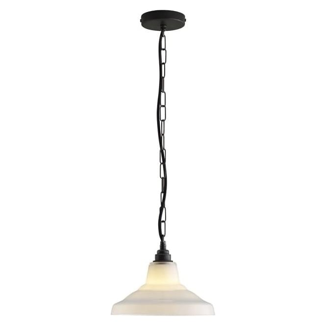 Original BTC Lighting Glass School pendant light size 1 - Opal and weathered brass