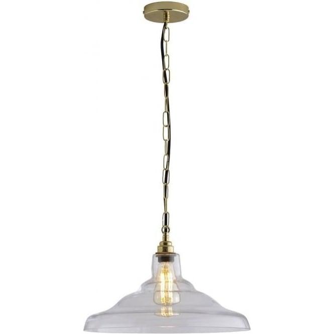 Original BTC Lighting Glass School pendant light size 2 - Clear and weathered brass