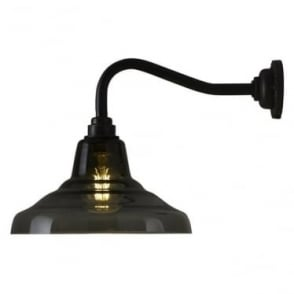 Glass school wall light size 1 - Anthracite and weathered brass