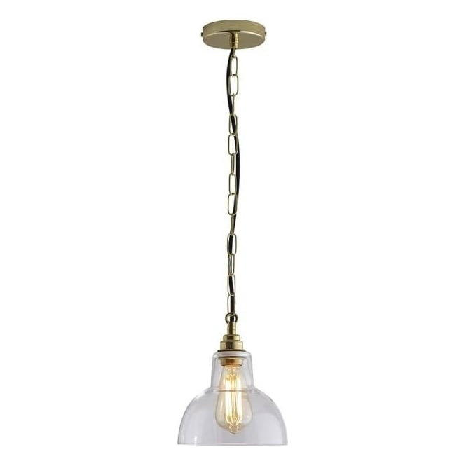 Original BTC Lighting Glass york pendant size 1 - Clear and brass
