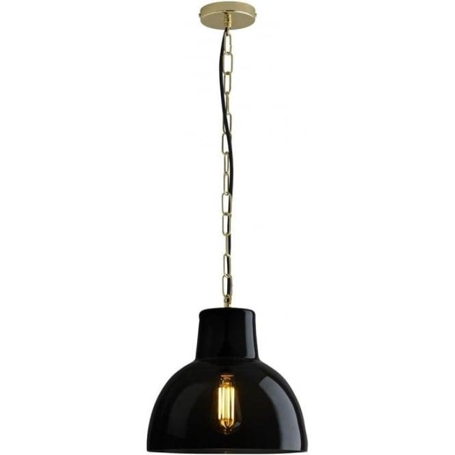 Original BTC Lighting Glass york pendant size 2 - Anthracite and brass