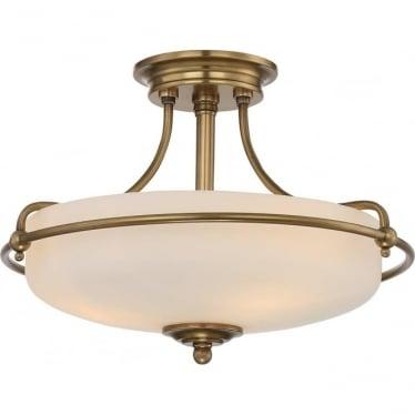 Griffin 3 Light Semi-Flush Ceiling Light Weathered Brass