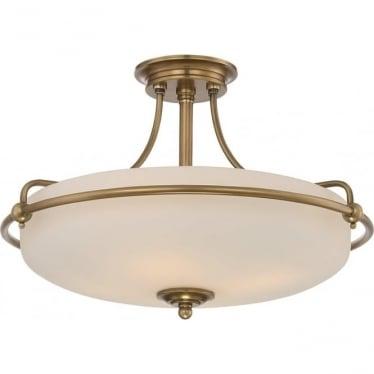Griffin 4 Light Semi-Flush Ceiling Light Weathered Brass