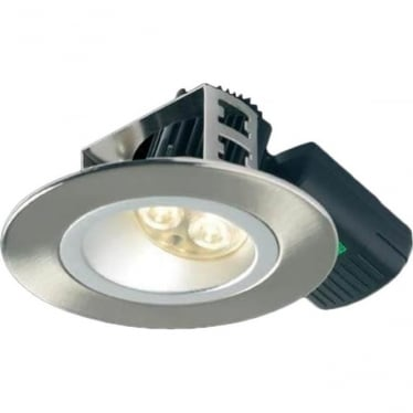 H5 500 Asymmetric without terminal block Low Glare Fire-Rated LED Downlight - Brushed Steel