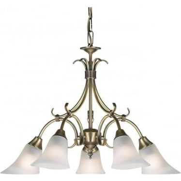 Hardwick 5 Light Pendant - Antique Brass & Frosted Glass