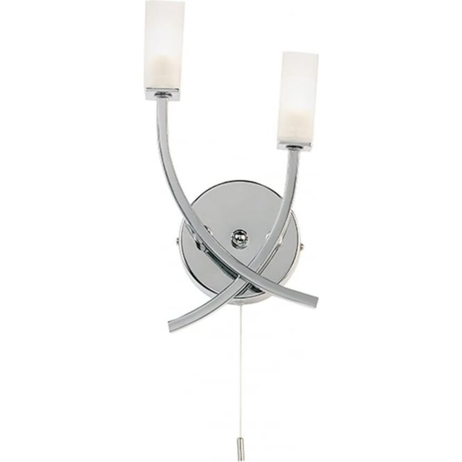 Endon Lighting Havana 2 light wall fitting - chrome plate & frosted glass