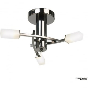 Havana 3 light semi flush fitting - Black chrome & frosted glass