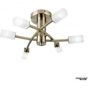 Havana 6 light semi flush fitting - Antique brass & frosted glass