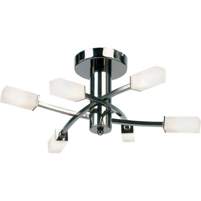 Endon Lighting Havana 6 Light Semi Flush Fitting - Black Chrome & Frosted Glass