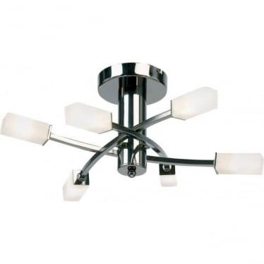 Havana 6 Light Semi Flush Fitting - Black Chrome & Frosted Glass