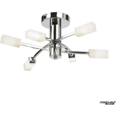 Havana 6 light semi flush fitting - Chrome plate & frosted glass