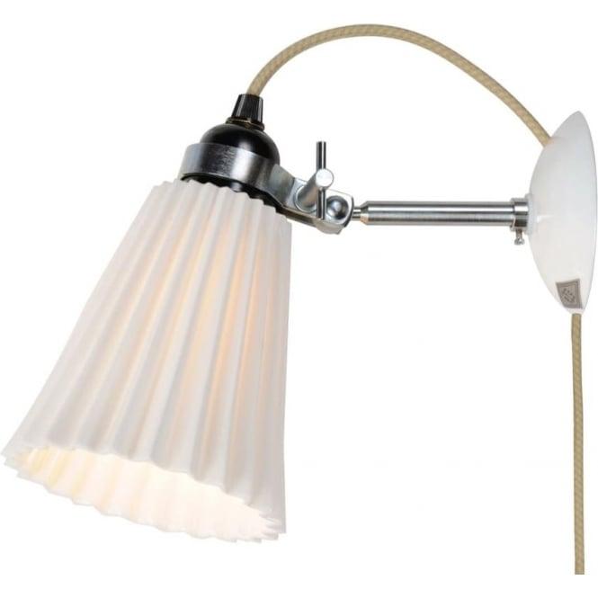 Original BTC Lighting HECTOR MEDIUM PLEAT WALL LIGHT, PLUG, SWITCH & CABLE - Natural White