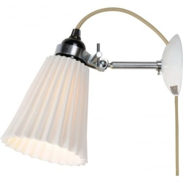 HECTOR MEDIUM PLEAT WALL LIGHT, PLUG, SWITCH & CABLE - Natural White
