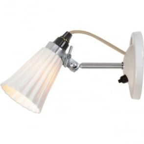 HECTOR SMALL PLEAT SWITCHED WALL LIGHT -  NATURAL White