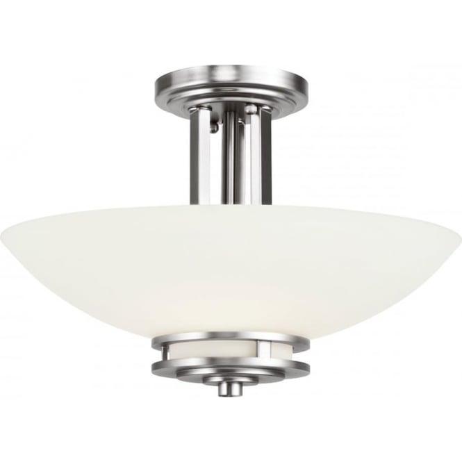 Kichler Hendrik 2 Light Semi Flush Mounted Bathroom LED Ceiling Light IP44 Polished Chrome