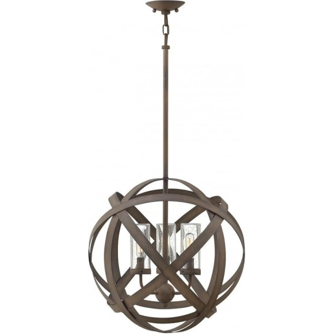 Hinkley Lighting Carson 3 Light Outdoor Chandelier Vintage Iron