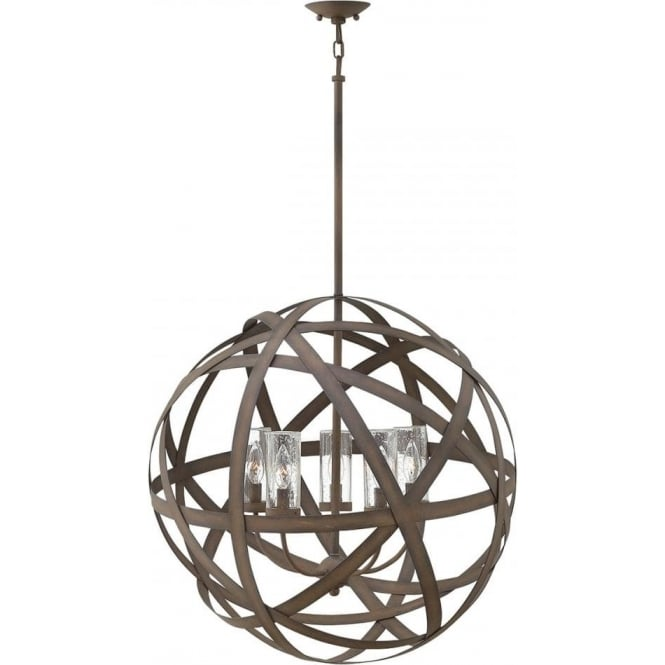 Hinkley Lighting Carson 5 Light Outdoor Chandelier Vintage Iron