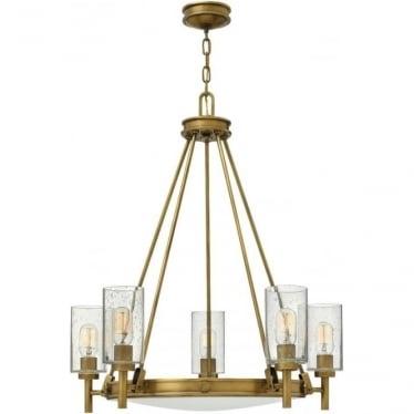 Collier 5 Light Chandelier Heritage Brass