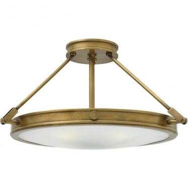 Collier Medium Semi-Flush Ceiling Light Heritage Brass
