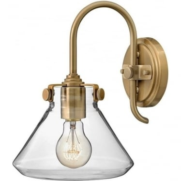 Congress Clear Glass Wall Light Brushed Caramel