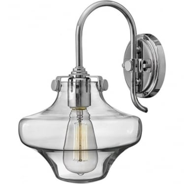 Congress Clear Glass Wall Light Chrome