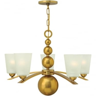 Zelda 5 Light Chandelier Vintage Brass