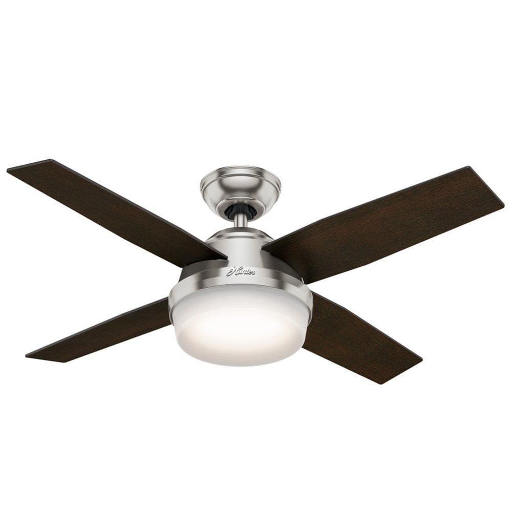 Dante 112cm Fan With Lights Remote Controlled Brushed Nickel Moonlight Design