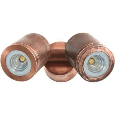 Pure LED Twin Wall Spot Retro (230V Mains) - copper